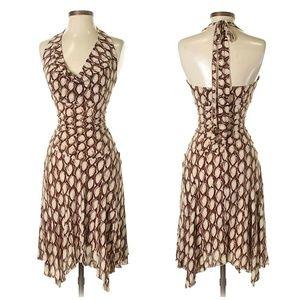 Bebe Brown & Cream Print Halter Dress